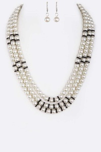 Mix Crystal Bar Layer Glass Pearl Necklace Set