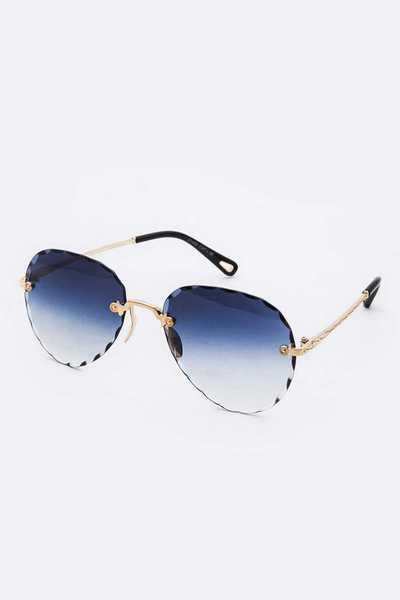 Rimless Aviator Mix Tint Sunglasses Set