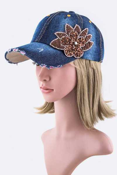 Bead & Sequins Flower Fashion Denim Cap