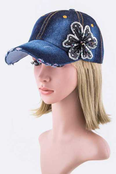 Sequins Flower Accent Fashion Denim Cap