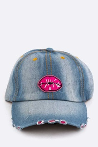 Kisses Distressed Denim Washed Cap
