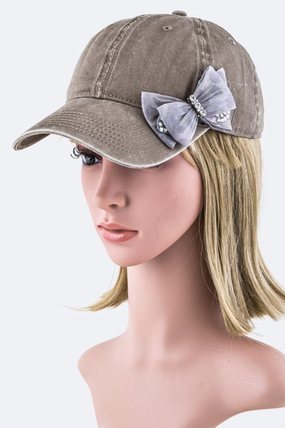 Crystal Bow Cotton Cap