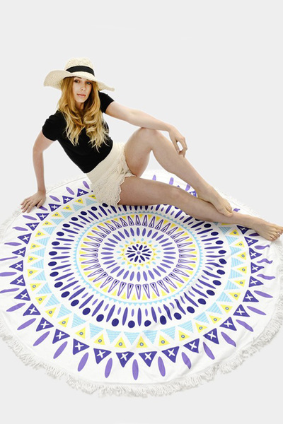 Mandala Terry Round Beach Towel