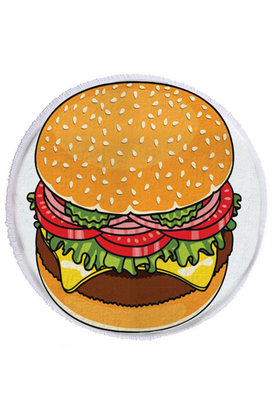 Hamburger Terry Fringe Round Beach Towel