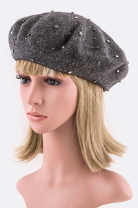 Crystal Studs Classic Wool Beret