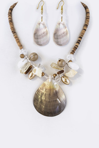 Abalone Shell Pendant Sea Side Necklace Set