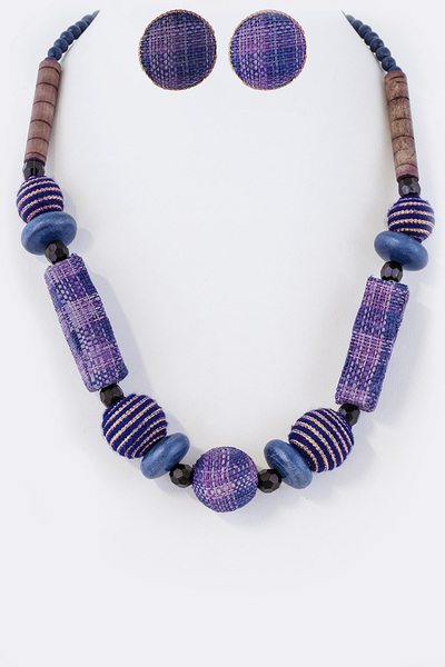 Mix Fabric Wrap Wooden Beads Necklace Set