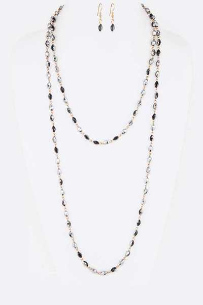 Crystal Station Convertible Long Necklace Set