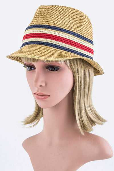 Stripe Printed Straw Fedora