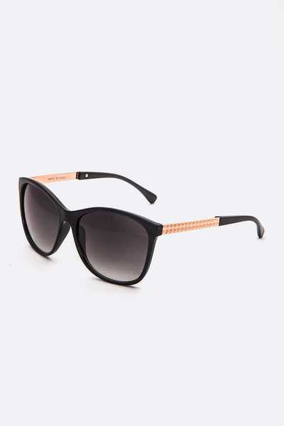 Texture Metal Temple Classic Sunglasses