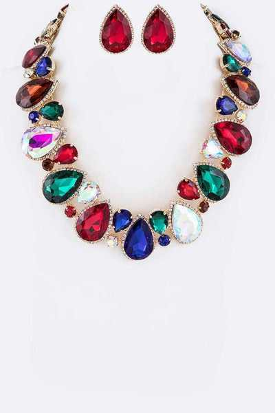 Crystal Iconic Teardrop Collar Necklace Set