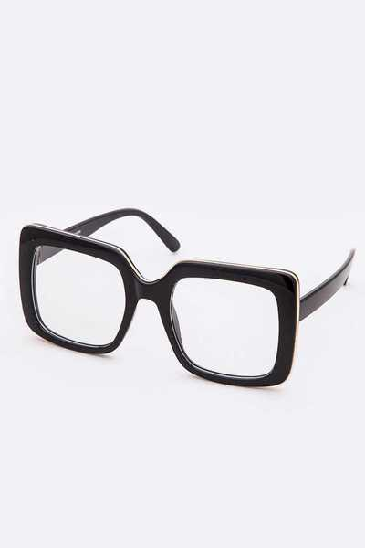 Oversize Square Clear Lens Optical Glasses