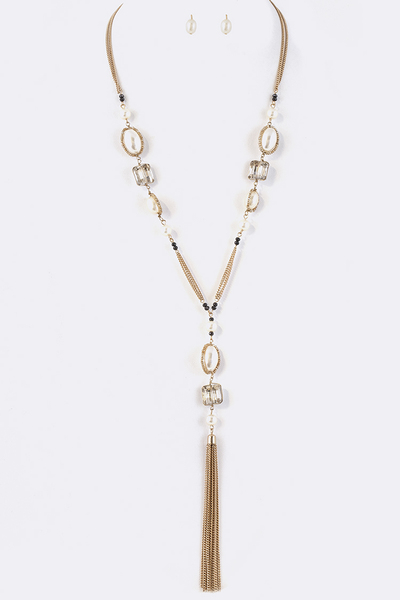 Mix Pearl Crystal Station Chain Tassel Necklace Set