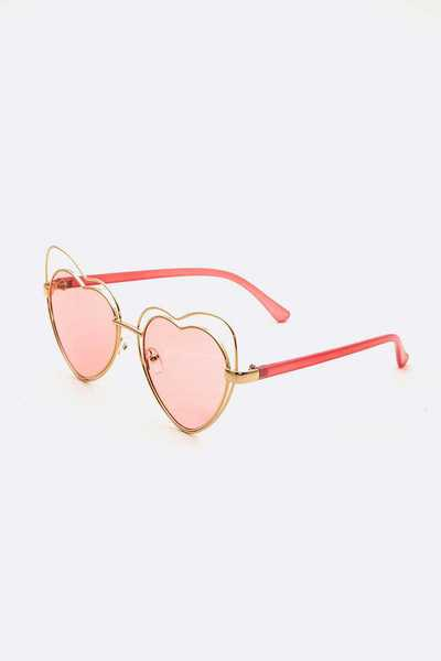 Heart Shape Wired Light Tint Sunglasses Set
