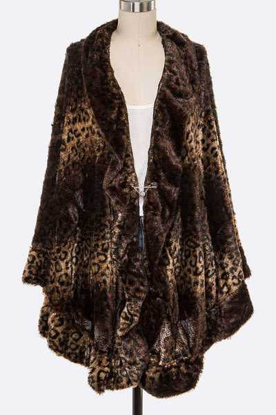 Animal Printed Velour Winter Cardigan