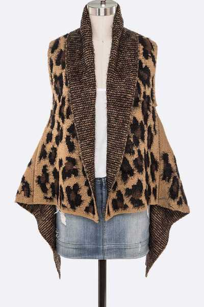 Leopard Intarsia Knitted Vest