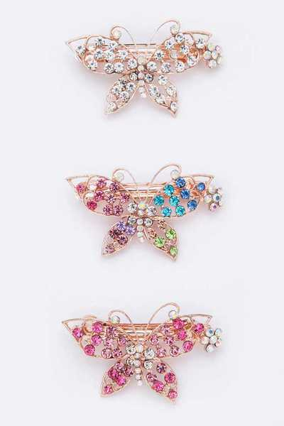 Crystal Butterfly Barrette Set
