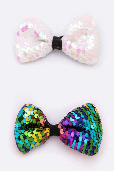 24 PC Bow Tie Sequins Hair Clip Set