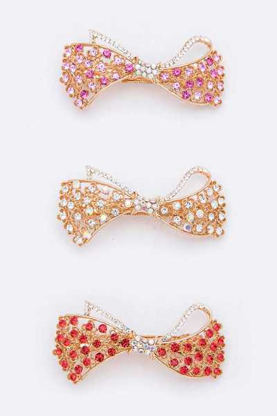 Crystal Bow Barrette Clip Set