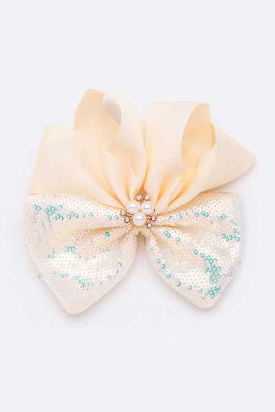 Sequin Mix Ribbon Pearl Accent Iconic Bow Clip Set