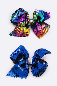 24 PC Sequins Bow Hair Clip Set