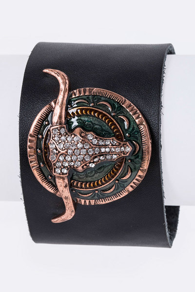 Crystal Longhorn Leather Cuff