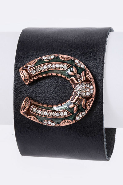 Crystal Horse Shoe Leather Cuff