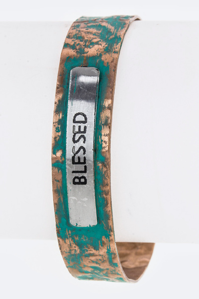 BLESSED Tag Hammered Metal Cuff