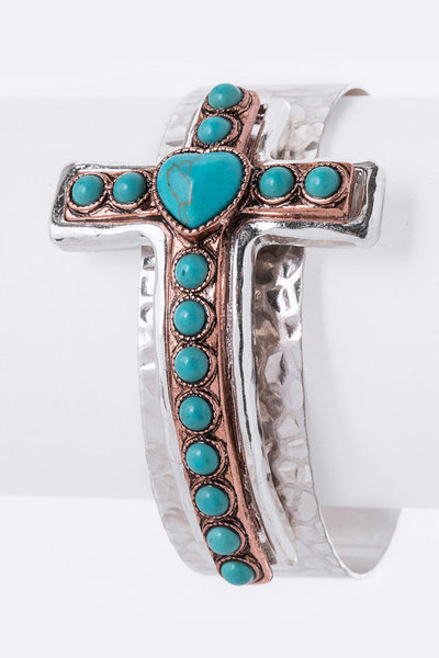 Turquoise Cross Hammered Adjustable Cuff