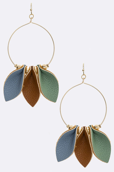 Tri-Tone Leather Pinched Earrings