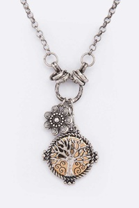 Tree Of Life Mix Charm Pendant Necklace