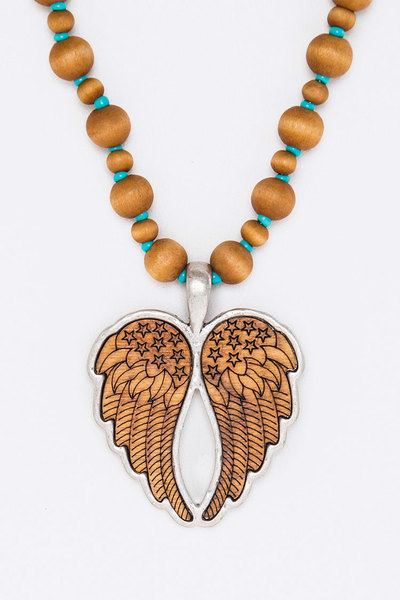 Wooden Wings Pendant Necklace