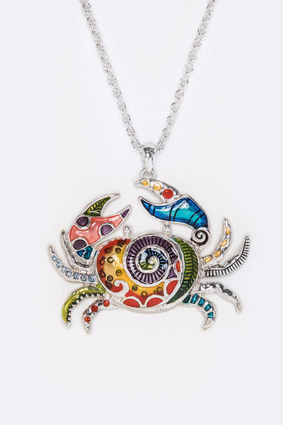 Multi Color Crab Medallion Necklace