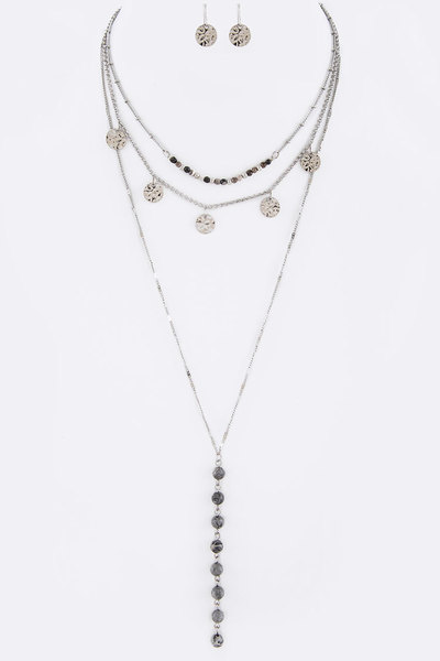 Stone Beads Fringe Disk Layered Necklace Set