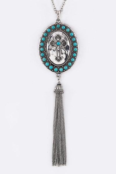 Oval Cross Pendant & Tassel Necklace
