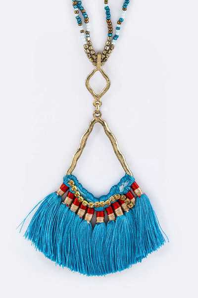 Iconic Tassels Fan Pendant & Layer Beads Necklace