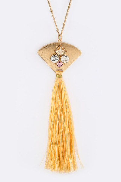 Pave Crystals Fan & Tassel Pendant Necklace