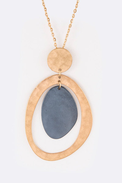 2 Tone Hammered Metal Pendant Necklace