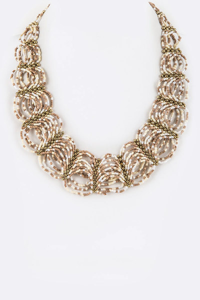 Seed Beads Looping Statement Bib Necklace