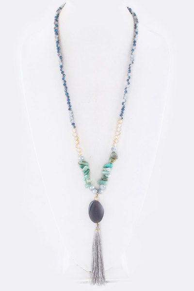 Semi Precious Pebble Tassel & Mix Beads Necklace