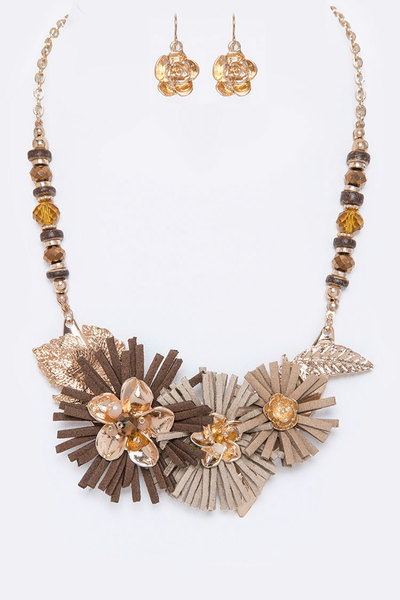 Mix Media Flower Statement Necklace Set
