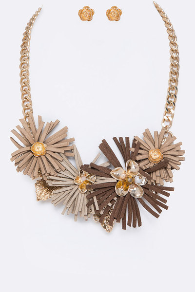 Sueded Flower Statement Necklace Set