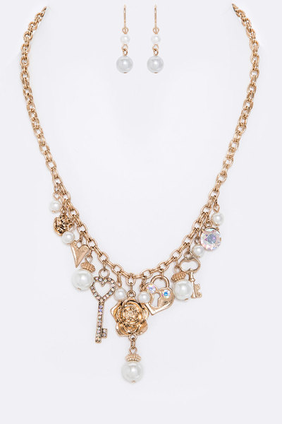 Heart & Key Mix Charm Necklace Set
