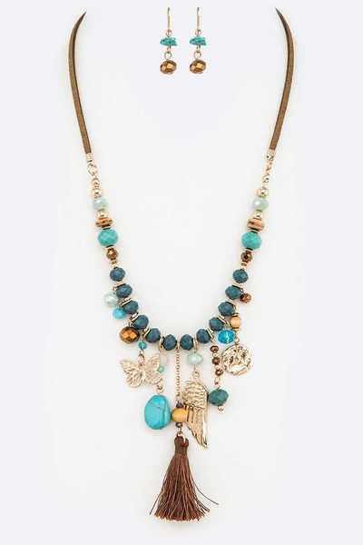 Butterfly Wing Tassel Mix Charm Fashion Necklace Set