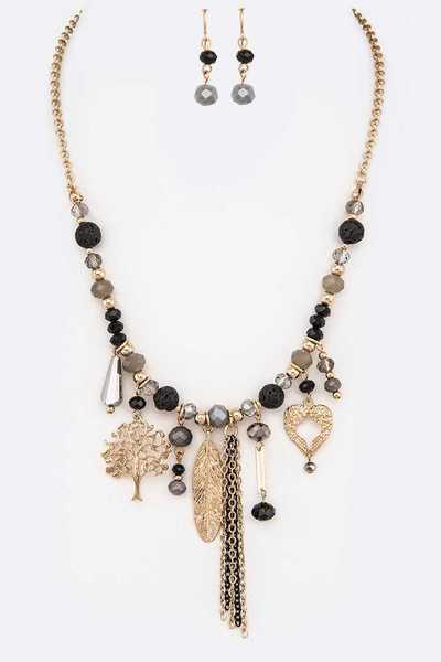 Mix Charms Beaded Fashion Necklace Set