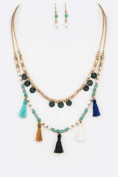 Mix Disks Beaded Layer Fringe Tassel Necklace Set