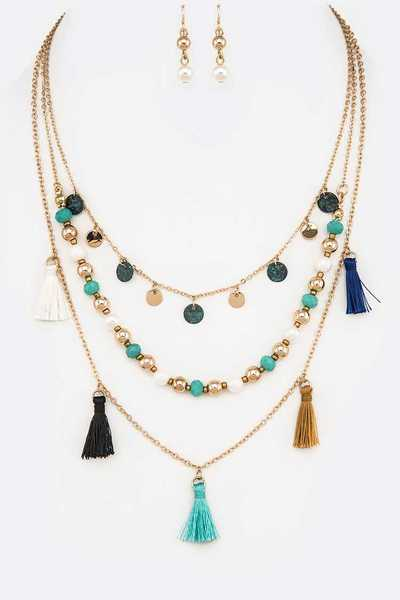 Mix Beads Fringe Disks Tassel Layer Necklace Set