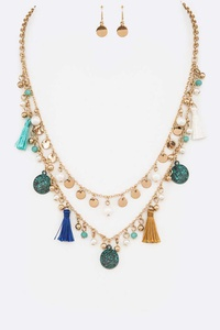 Mix Disk Drop Tassel Layer Necklace Set