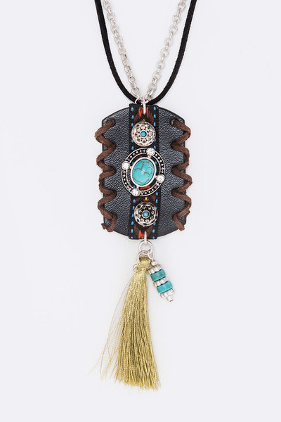 Mix Charmed Leather Tag Necklace Set