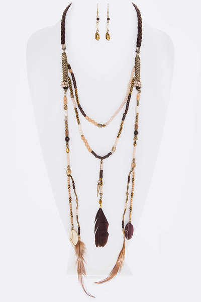 Stone & Feather Charms Layer Beads Necklace Set